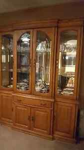 Solid wood Hutch with lights and glass shelves