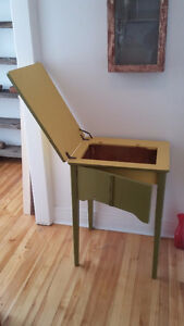 old wooden sewing table