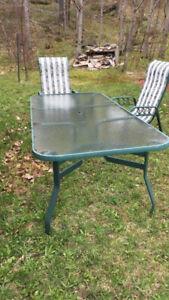 Table de jardin en verre 8 places