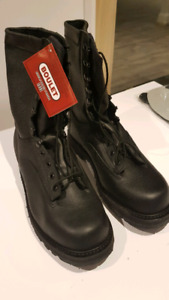 NEW BLACK LEATHER COMBAT BOOTS