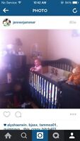 CRIB, CHANGE TABLE AND GLIDER