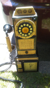 Beautiful antique looking wooden wall phone