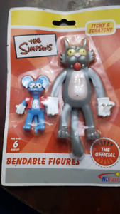 THE SIMPSONS ITCHY & SCRATCHY BENDABLE FIGURES