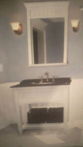 Granite vanity with mirror