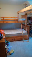 Solid wood bunk bed, very solid