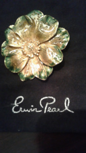 TAKE 50% OFF VINTAGE Erwin Pearl Enameled Flower Brooch...