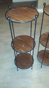 2 wrought iron round tables