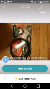 Masterlock upopened lock and 6 ft steel cable asking 15