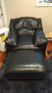 Dark Blue Leather Chair
