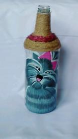 Antique Bottle art decor -Cat