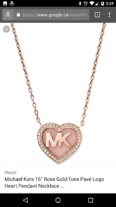 Michael kors necklace rose gold brand new