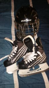 Boys skates and helmet
