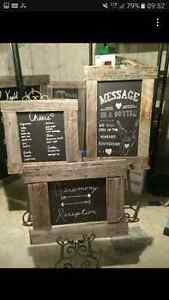 LARGE rustic chalkboard signs with easels