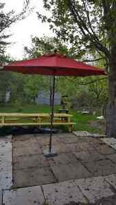 RED PATIO UMBRELLA WITH STAND $150