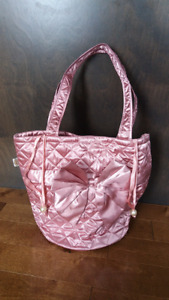 Pink Satin Shoulder Bag with Ribbon