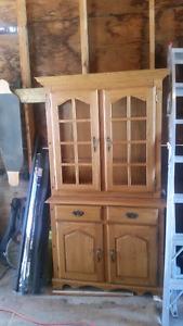 Solid oak cabinet and dresser