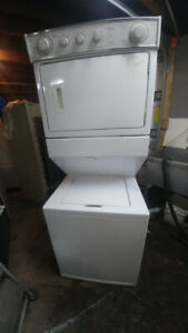 stacked washers and electric or  gas dryers