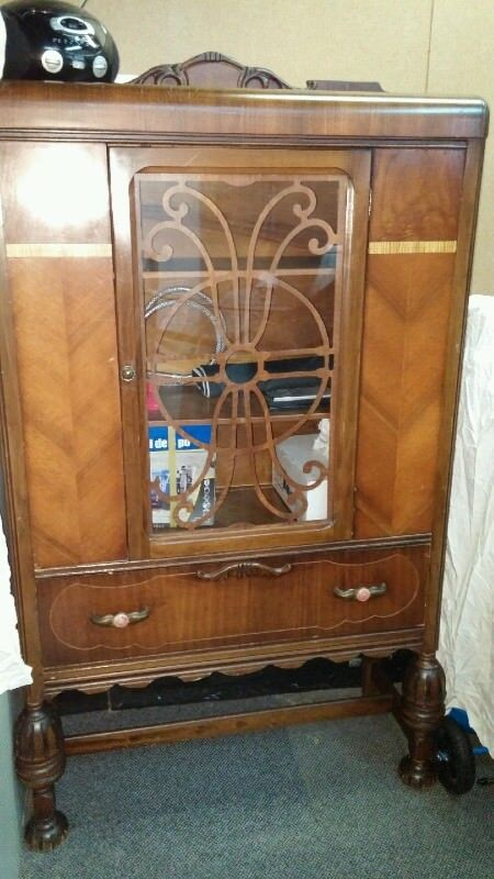 Description. Antique China Cabinet.