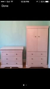 Wood dresser and armoire