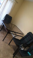 Patio set - 4 chairs/cushions, umbrella, table $50