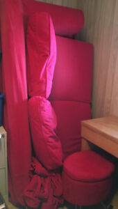 Red Ikea hide-a-bed & small red storage ottoman