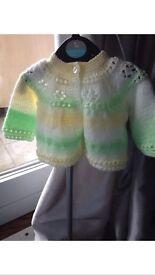 Brand New Handmade Baby Cardigan Mint Green, Yellow And white