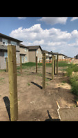 BOTH GREEN AND BROWN PRESSURE TREATED POSTS
