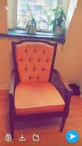Vintage pink Chair , wicker sides