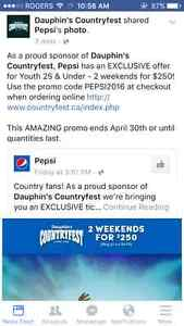 UNDER 25...2 tixs for $250 for Country fest