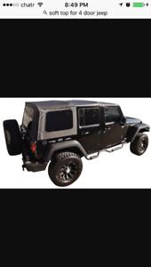 Soft top for 4 door Jeep Wrangler