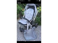Oyster pram with carry cot, seat, liners and cosy toes.