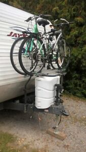 Arvika bike rack for travel camper trailer.