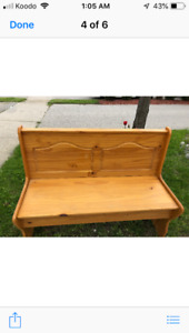 Solid pine bench with storage, perfect for an area where one
