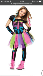 Costume Halloween squelette punk coloré  pour fille small (6-8)