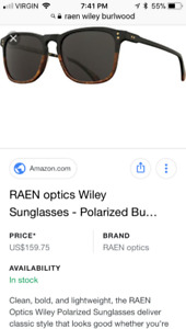 Men's Raen Wiley Burlwood polorized sunglasses(New with case)