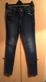 BRAND NEW, NEVER WORN Navy Skinny Jeans. Size 12 R. From River Island.