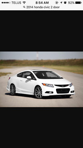 2014 Honda Civic White Coupe (2 door)