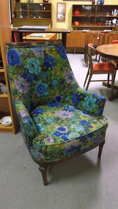 Mid Century Flower Power Funky High Back Chair Wood Frame