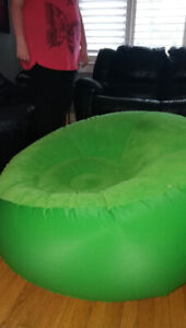 Green blow up chair