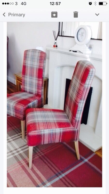 2 Next Versatile Check Stirling Red Highback Dining Chairs From