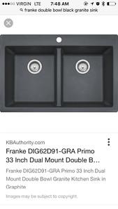 Brand new black granite sink