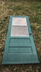 """30 or 32 """" exterior door with screen for outhouse like in pic"""