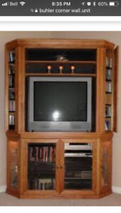 Solid oak corner tv/dvd stand with storage