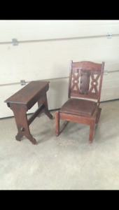 Wooden rocking Chair and Side table