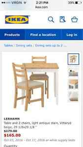 Ikea dining table + two chairs