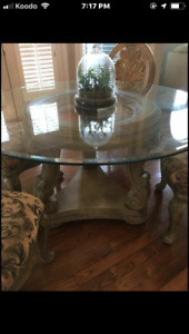 Glass top dining set+4 chairs
