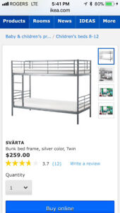 Brand new twin Ikea bunk bed with mattresses
