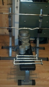 Weight Set with Squat Stands and Bench