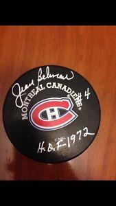 Jean Beliveau autographed puck