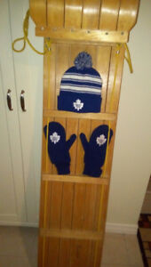 Wooden toboggan, Maple Leafs hat and mittens